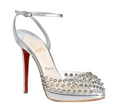 Christian Louboutin silver leather 'St. Jeannette 120' spike sandals
