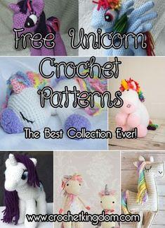 Free Unicorn Crochet Patterns - The Best Collection Ever! https://www.crochetkingdom.com/free-unicorn-crochet-patterns/