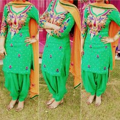 Green Punjabi Suit. Just like the style and cut, not the pattern, design or color