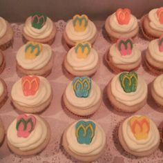 Cupcakes with chocolate  flip flops
