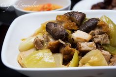 Chef and Sommelier: Braised Chinese Mustard Green with Roast Pork, Mushrooms and Dried Scallops