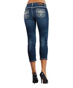 Look what I found on #zulily! Dark Stain Embroidered Low-Rise Crop Jeans - Women by Adiktd #zulilyfinds
