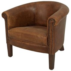 English Georgian Style Leather Round-Back Child's Club Chair | From a unique collection of antique and modern club chairs at https://www.1stdibs.com/furniture/seating/club-chairs/