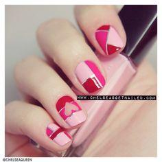 Color block valentine nails.