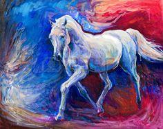 peinture à l huile: Peinture à l'huile abstraite originale d'un beau cheval bleu running.Modern Impressionism.Painting est lié à 2014-année du cheval bleu