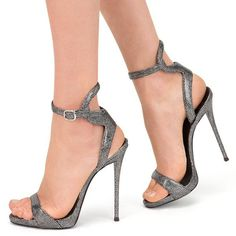 Shoespie Gray Strappy Heel Sandals