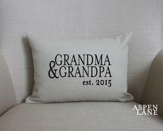 "Grandparent announcement gift, ""The Grandparent Pillow"" name pillow, baby announcement, personalized pillow, linen, burlap, nana, papa,"