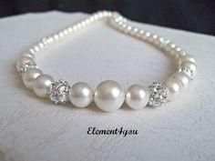 Bridal pearl necklace Rhinestone ball Vintage Swarovski champagne pearls Beaded Wedding jewellery Elegant Maid of honor gift Bridesmaid. $40.00, via Etsy.