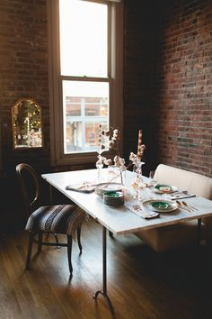 a moody winter table setting // coco+kelley Winter Table, Merry Christmas To All, Love Home, Comfort Zone, Dining Room Table, Beautiful Homes, Table Settings, House Design, Brick Walls