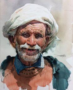 Art by : . Watercolor Portrait Painting, Watercolor Face, Watercolor Lettering, Watercolor Canvas, Watercolor Sketch, Portrait Art, Painting & Drawing, Watercolor Trees, Portrait Paintings