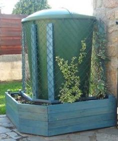 Planter made of pallets to hide a water tank with climbing plants