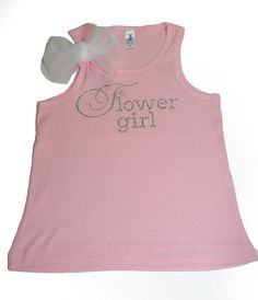Flowergirl tank top Size 2T - 12  shirt Pink Rose White with bow tulle on Etsy, $16.00
