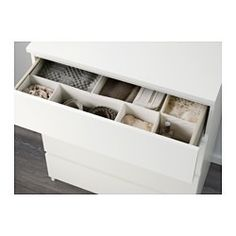 IKEA - MALM, Chest of 4 drawers, white, , Of course your home should be a safe place for the entire family. That's why a safety fitting is included so that you can attach the chest of drawers to the wall.Smooth running drawers with pull-out stop.If you want to organise inside you can complement with SKUBB box, set of 6.
