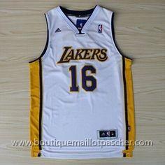 maillot nba pas cher Los Angeles Lakers Gasol #16 Blanc nouveaux tissu 22,99€