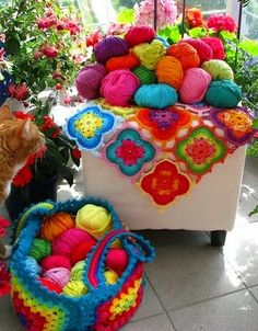 crocheted color (and lookit the kitty photobomber!!!LOL)