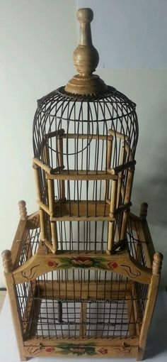 """Antique Victorian bird cage hand made from wood and steal wire art paint 26""""x10"""""""