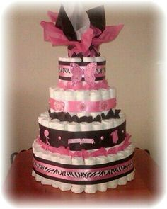 Diaper cake// Idea: tissue paper on top