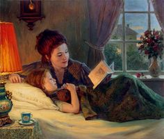 Yevgeniy, Demakov (b,1968)- Mother Reading to Daughter -2a