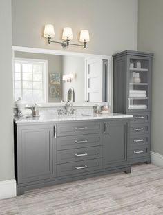 Bathroom Vanity Decor, Bathroom Interior, Modern Bathroom, Small Bathroom, Bathroom Stuff, Serene Bathroom, Grey Bathroom Cabinets, Gray Bathrooms, Costal Bathroom