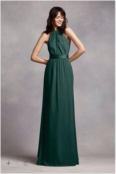David's Bridal Long Crinkle Chiffon Halter Dress Color: Forest