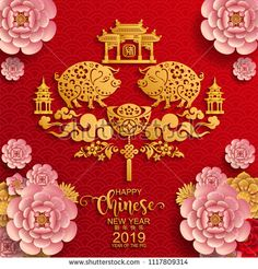 Happy chinese new year 2019 Zodiac sign with gold paper cut art and craft style on color Background.(Chinese Translation : Year of the pig) Happy Chinese New Year, Chinese New Year Zodiac, Chinese New Year Design, Chinese New Year Greeting, Pig Crafts, New Year's Crafts, Paper Crafts, Chinese New Year Wallpaper, Craft Paper Design
