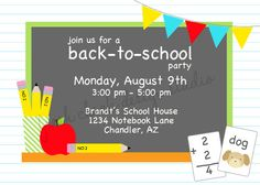 PRINTABLE PARTY INVITATION  Back to School by FreshChickDesigns, $15.00