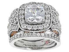 Michael O' Connor For Bella Luce(R) Rhodium Over Sterling & Eterno(Tm) Rose Ring With 2 Bands