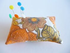 Vintage fabric pin cushion with orange flowers by OriginalCloth, £3.00