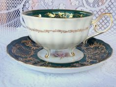Shafford 3 footed Dark Green with Gold with a Rose TEA CUP & SAUCER