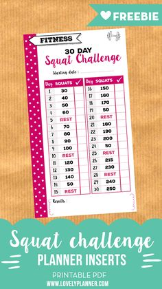 Fitness FREE 30 day squat challenge printable insert for personal size planners. Perfect to track your fitness goals! - FREE 30 day squat challenge printable insert for personal size planners. Perfect to track your fitness goals! Free Planner, Planner Pages, Happy Planner, Planner Ideas, Passion Planner, Planner Layout, Goals Printable, Printable Planner, Free Printables