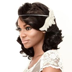 Wedding Hairstyle Ideas for the Lob: Retro Curls with a Vintage Headband