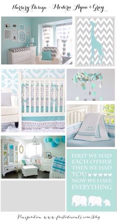 Nursery Design – Modern Aqua & Gray Ideas & Inspiration  www.frostedevents.com