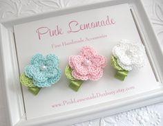 Toddler Flower Hair Clips, Cute Aqua Pink White Baby Crochet Flower Hair Clips, Set of 3 Pastel Clippies, New Baby Gift, Toddler Hair Clips