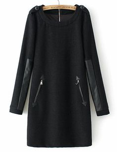 To find out about the Black Long Sleeve Contrast PU Leather Zipper Dress at SHEIN, part of our latest Dresses ready to shop online today! Trendy Dresses, Dresses For Sale, Casual Dresses, Hijab Fashion, Fashion Dresses, Fashion Clothes, Boho Fashion, Mode Hijab, Sweatshirt Dress