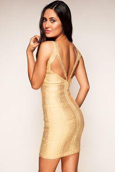 Bandage Dresses : Vestido bandage dorado con espalda en V