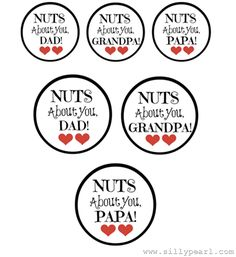 Nuts About You! Fathers Day Free #Printable Jar Gift Tags - Large ones fit a mason jar lid - The Silly Pearl