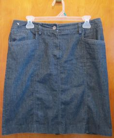 Sandro Sportswear Denim Chambray Skirt Womens Size 10 Knee Length Dark Wash #SandroSportwear #ALine