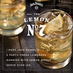 Enjoy lemon and lime the Tennessee way. For The Lemon mix together 1 part Jack Daniel's, 2 parts fresh lemonade, and garnish with a lemon wedge over ice. Refreshment with a twist. Jack Daniels Cocktails, Whiskey Cocktails, Cocktail Drinks, Cocktail Recipes, Bar Drinks, Alcoholic Drinks, Beverages, Strawberry Banana Milkshake, Liqueur