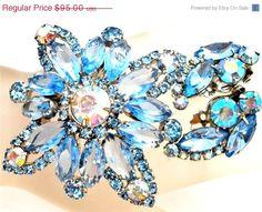 ON SALE Vintage Blue Rhinestone Set Brooch by TheJewelryLadysStore, $76.00