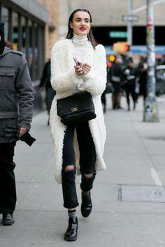 e32d51ad1 Photo New York Fashion, Moda Uliczna, Model W Stylu Ulicznym, Zima, Kostiumy