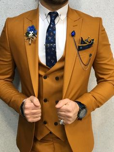Collection: Spring – Summer 2020 Product: Slim-Fit Suit Color Code: Mustard Size: Suit Material: viscose, polyester Machine Washable: No Fitting: Slim-fit Package Include: Jacket, Vest, Pants Gifts: Chain, Flower and Neck Tie Best Suits For Men, Cool Suits, Mens Slim Fit Suits, Mens Suits Style, Mens Casual Suits, Suits You, Designer Suits For Men, Designer Clothes For Men, Mens Fashion Blazer