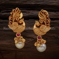 Designer antique earrings plated with gold polish and made of copper alloy! … Designer antique earrings plated with gold polish and made of copper alloy! Gold Jhumka Earrings, Jewelry Design Earrings, Gold Earrings Designs, Gold Jewellery Design, Antique Earrings, Designer Earrings, Gold Jewelry, Earings Gold, Peacock Jewelry
