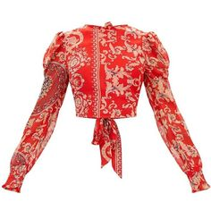 Red Baroque Print Puff Sleeve Tie Back Shirt (135 RON) ❤ liked on Polyvore featuring tops, blouses, puffy sleeve blouse, red top, pattern blouse, red chiffon shirt and puffed sleeve blouse