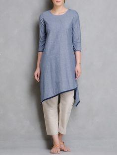 buy blue white grey asymmetrical hem chambrey kurta cotton women kurtas woman divine contemporary and tunics