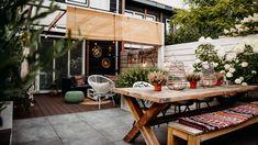 ogródek taras - Szukaj w Google Outdoor Ideas, Outdoor Decor, Boho, House Design, Patio, Table Decorations, Garden, Furniture, Google