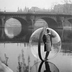 """Girl in bubbles over Paris, 1963"""