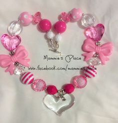 Heart and Bows Little Girl Chunky Bead Bubblegum Necklace-Toddler Girl Necklace- Baby Girl Necklace- Kids Jewelry Chunky Bead Necklaces, Bubble Necklaces, Chunky Jewelry, Chunky Beads, Girls Necklaces, Beaded Jewelry, Handmade Jewelry, Little Girl Jewelry, Kids Jewelry
