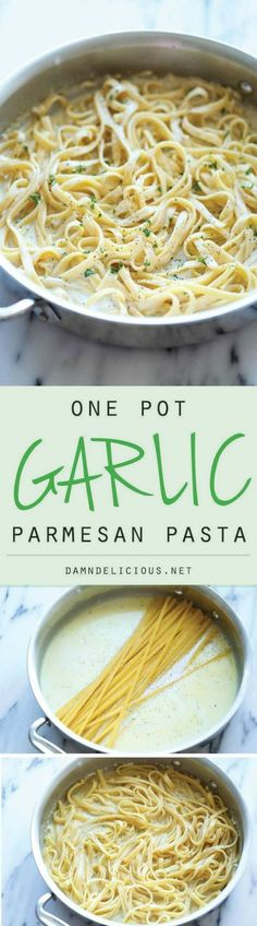 One Pot Garlic Parmesan Pasta - Damn Delicious One Pot Garlic Parmesan Pasta - The easiest and creamiest pasta made in a single pot - even the pasta gets cooked right in the pan! How easy. Think Food, I Love Food, Good Food, Yummy Food, Tasty, Delicious Recipes, Pasta Dishes, Food Dishes, Potato Dishes