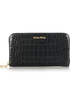 Miu Miu|Croc-effect glossed-leather wallet|NET-A-PORTER.COM