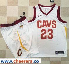 b06a7eb21b0 Nike Cavaliers LeBron James White A Set The Finals Patch NBA Swingman  Association Edition Jersey
